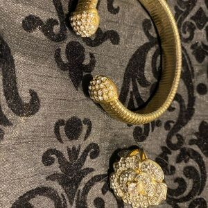 Gold tone bracelet and ring